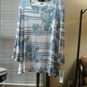 Alfred Dunner floral w/stripes sweater Size 2X